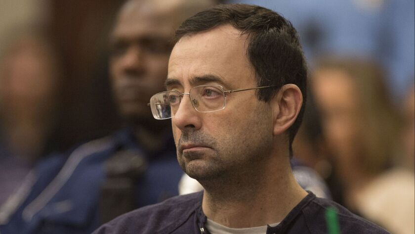Larry Nassar waits during court proceedings in the sentencing phase in Lansing, Michigan on January 24.