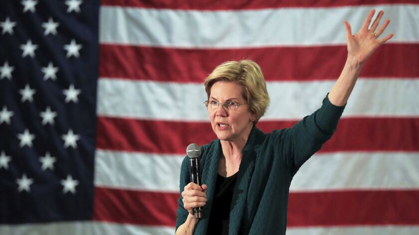 Democratic presidential candidate Elizabeth Warren speaks to a group of about 400 potential voters a
