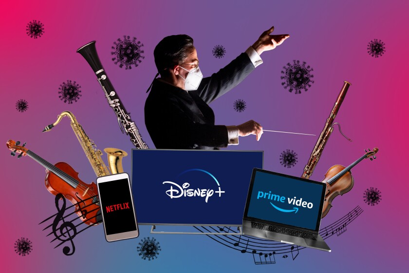 A photoillustration collages the images of an orchestra conductor, musical instruments and streaming service logos.