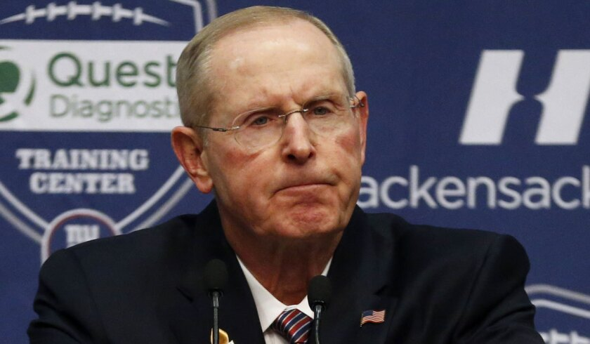 Tom Coughlin speaks during his farewell news conference as New York Giants coach on Jan. 15, 2016.