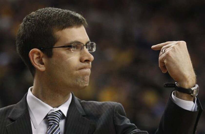 Butler head coach Brad Stevens reacts to a call during the first half of the NCAA college Horizon League conference championship basketball game against Wisconsin-Milwaukee,Tuesday, March 8, 2011, in Milwaukee. (AP Photo/Morry Gash)