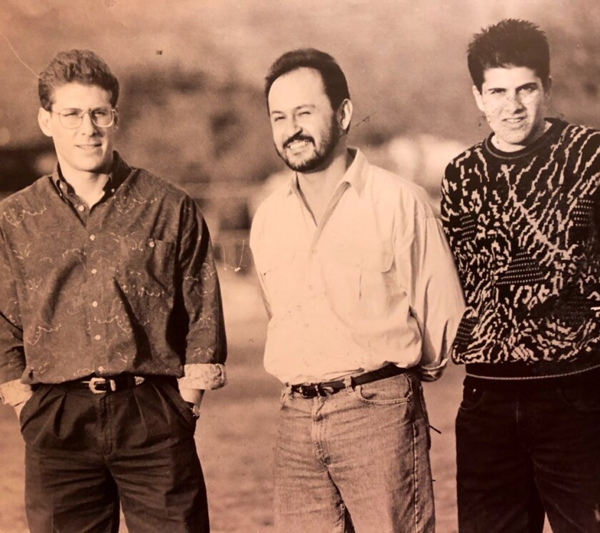 A throwback with Jeff Tully, left, Alex Leon and Jim Riggio.