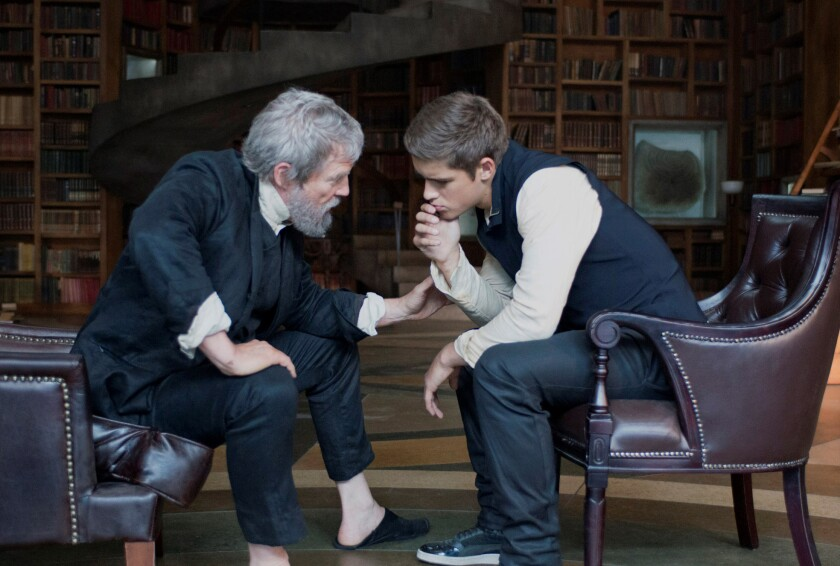 "Jeff Bridges, left, and Brenton Thwaites in ""The Giver."""