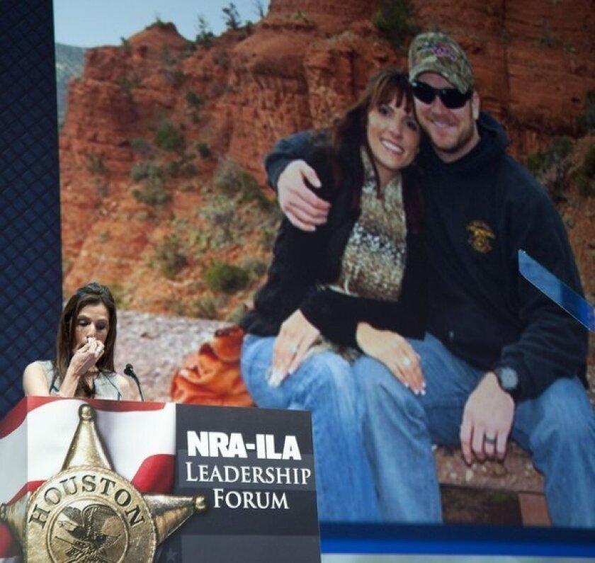 Taya Kyle, widow of slain former military sniper and author Chris Kyle, makes an emotional plea for gun rights at the National Rifle Assn. annual convention.