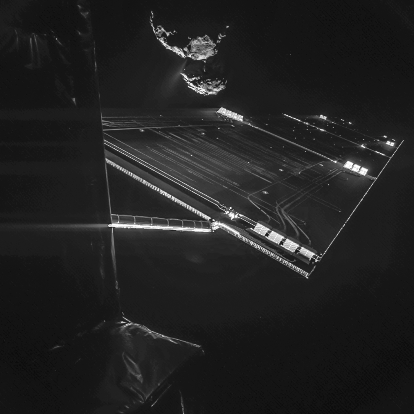 """A Rosetta mission """"selfie"""" was taken about 10 miles from the surface of the comet 67P/Churyumov-Gerasimenko on Oct. 7."""