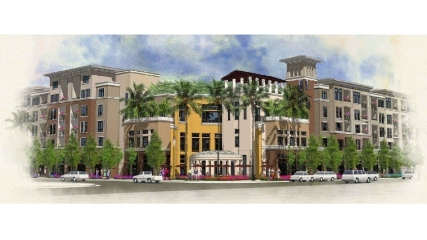 The Residences at Newport Place, depicted in this rendering, would replace the MacArthur Square commercial center in Newport Beach with 384 apartments and 5,677 square feet of restaurant space. However, the city Planning Commission rejected the project in an initial vote Thursday night.