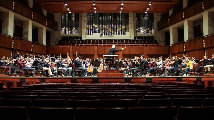 The West-Eastern Divan Orchestra performs during a rehearsal at the Kennedy Center in Washington earlier this month.