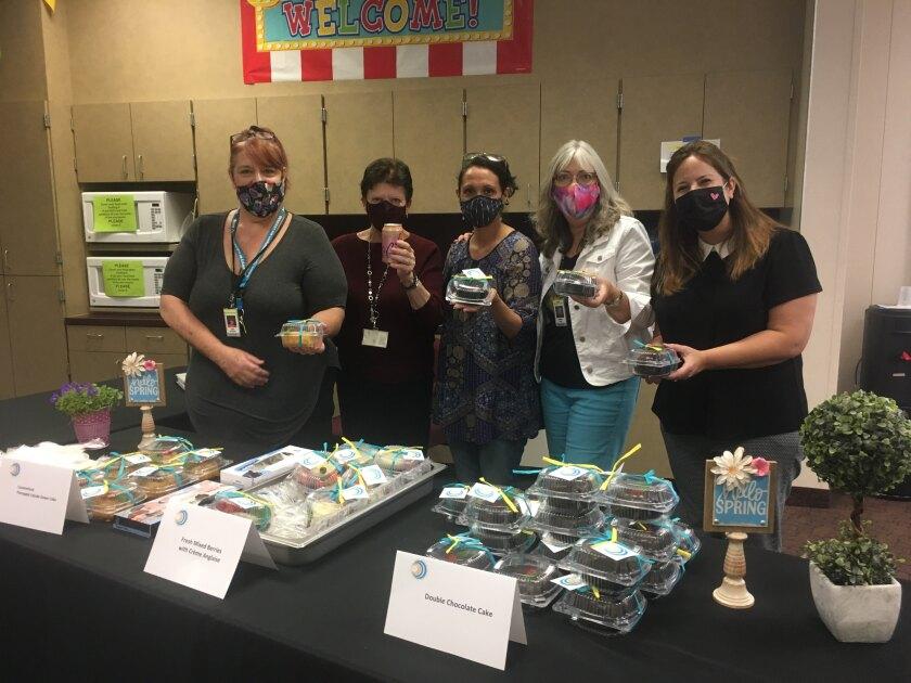 Lisa Salgado, Nancy Loch, Andrea Morgan, Debi Dunn and Amanda Wright at the Solana Beach SD employee appreciation event.
