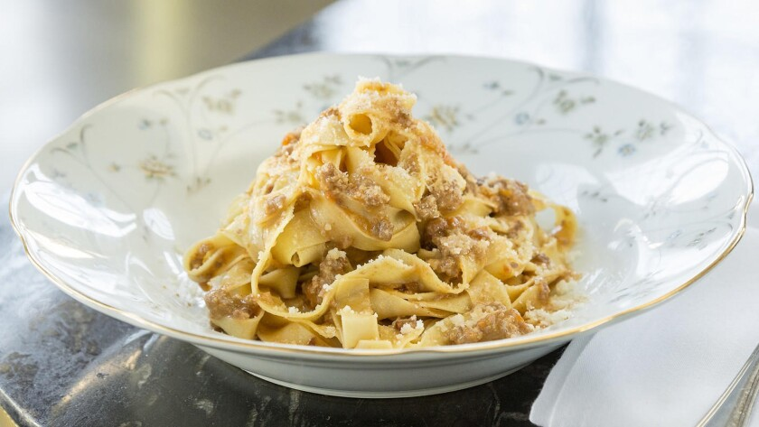 Nonna's tagliatelle al ragù Bolognese with beef, pork and not too much tomato sauce.