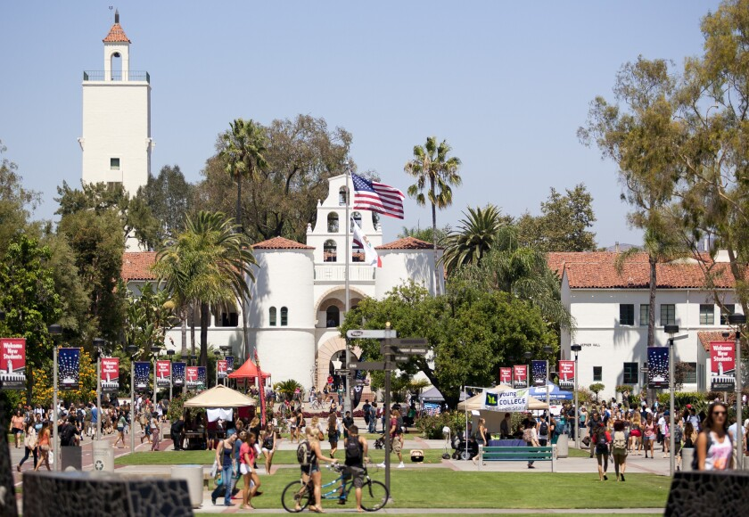 The outside of Hepner Hall had several stands inviting students to join campus organizations as well as information booths for students with questions.
