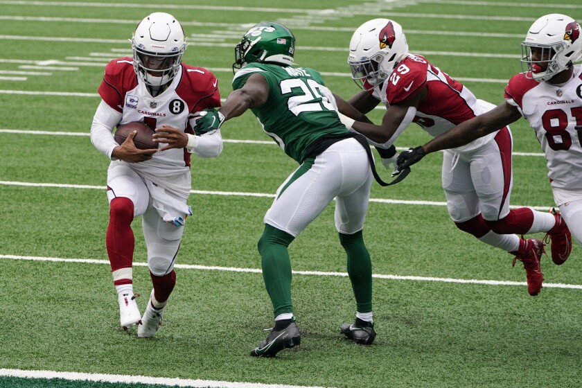 Arizona Cardinals quarterback Kyler Murray (1) runs in a touchdown against New York Jets free safety Marcus Maye (20) during the first half of an NFL football game, Sunday, Oct. 11, 2020, in East Rutherford. (AP Photo/Seth Wenig)