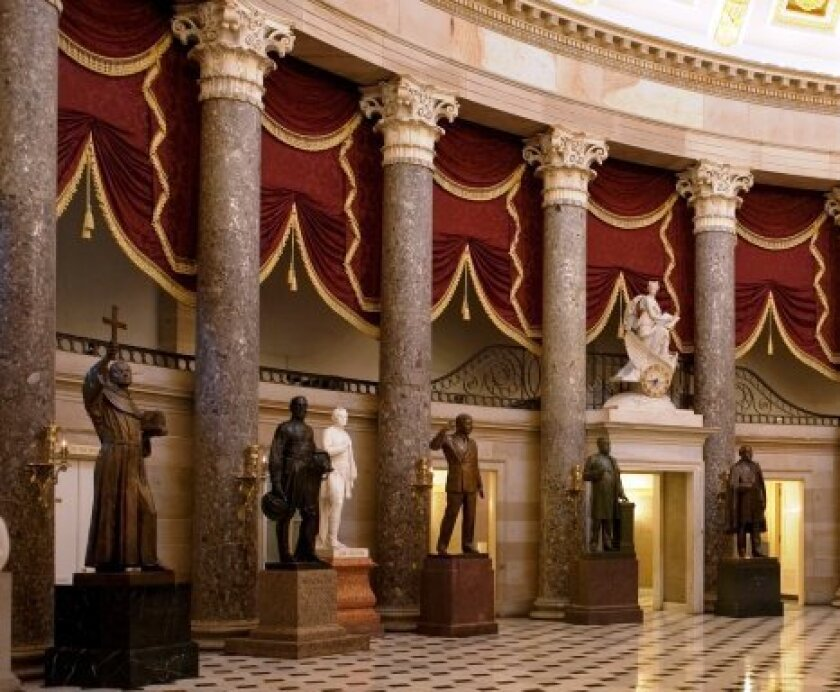 This photo of the U.S. Capitol's Statuary Hall on the Architect of the Capitol website shows the statue of Father Junipero Serra at the far left that California state legislators propose to remove.