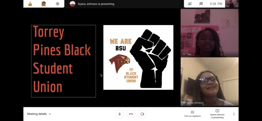The Torrey Pines Black Student Union spoke during a recent schoolwide presentation.