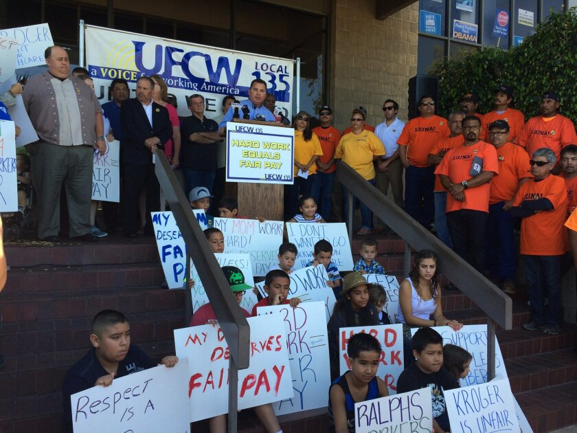 San Diego-Imperial Counties Labor Council CEO Richard Barrera voiced the labor community's support for Food 4 Less workers at a news conference in Mission Valley.