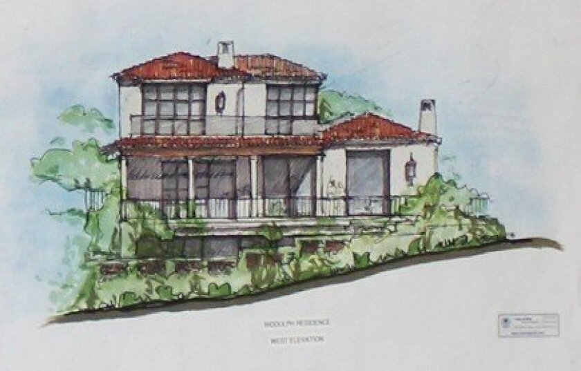 Architectural rendering of the Biddulph's proposed, three-story Barber Tract residence at 7106 Vista del Mar (at the coastal gateway to WindanSea). Design by Island Architects