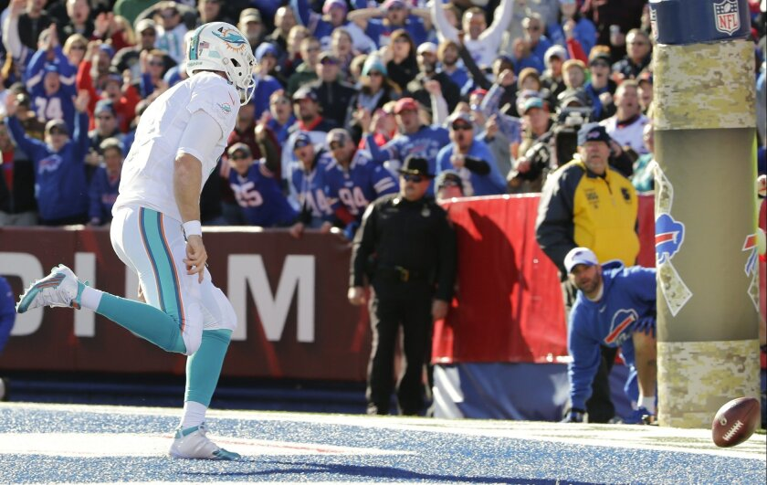 Miami Dolphins quarterback Ryan Tannehill (17) chases after the ball which was snapped over his head for a safety during the first half of an NFL football game against the Buffalo Bills, Sunday, Nov. 8, 2015, in Orchard Park, N.Y. (AP Photo/Bill Wippert)