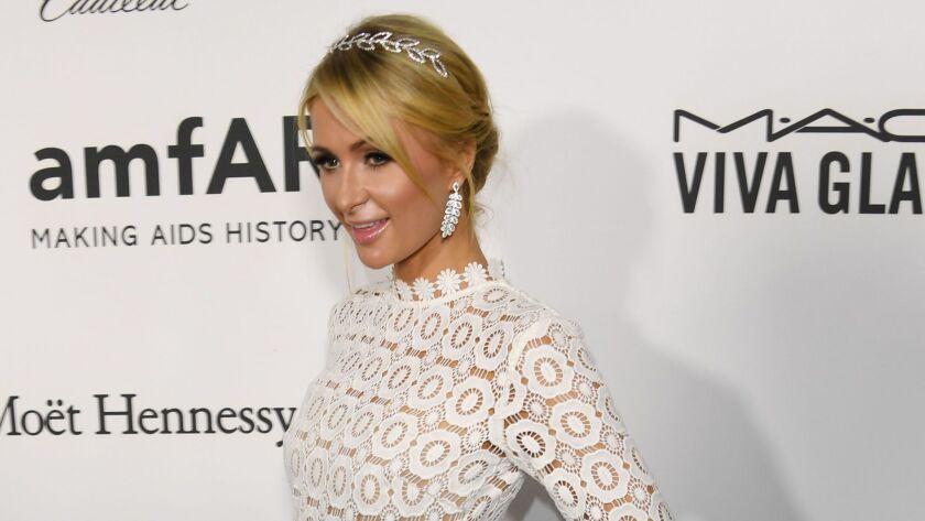Paris Hilton attends amfAR's Inspiration Gala Los Angeles at Milk Studios.