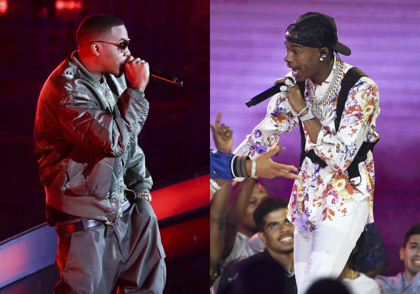 Hip Hop artist Nas performs before the NBA All-Star basketball game in New York on Feb. 15, 2015, left, and Lil Baby performs at the BET Awards in Los Angeles on June 23, 2019. Lil Baby has blazed the Billboard charts, but Grammy voters gave the young hip-hop star the cold shoulder in the best rap album category, instead, surprisingly nominating the genre's more matured voices like Nas. (AP Photos by Frank Franklin II, left, and Chris Pizzello)