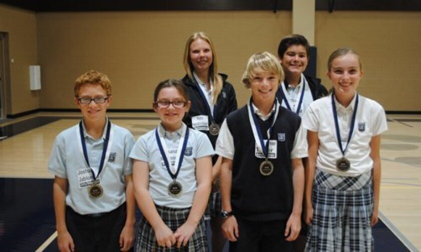 Horizon Prep's 5th-8th Grade ACSI Spelling Bee Winners (First Row L-R):  Joshua Jablonski, Cassandra McDaniel, Shane Telfer, Abby Gammel (Second Row L-R): Kyra Hendrickson, Antonio Partida (not pictured: Yechan Choi, Alec Philibbosian).