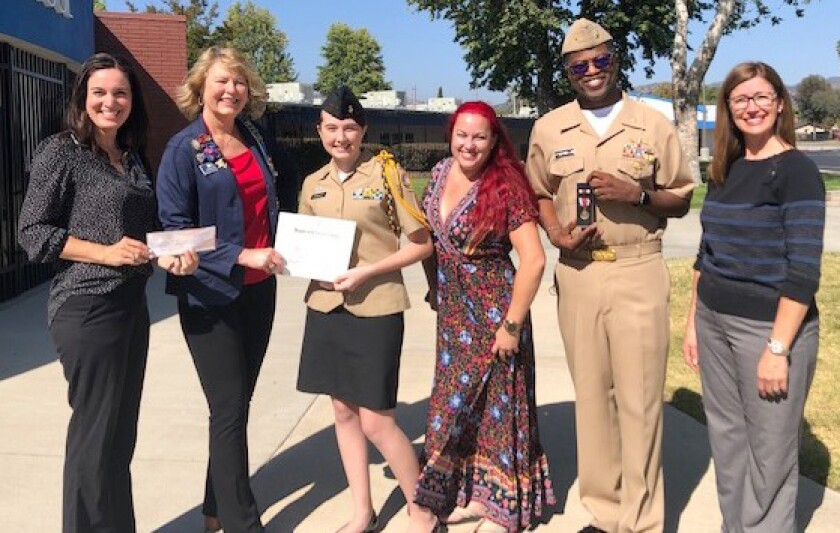 The Rincon del Diablo Chapter of the DAR awarded the Bronze ROTC Medal to Cadet Lt. Gracie Crowley (third from left).