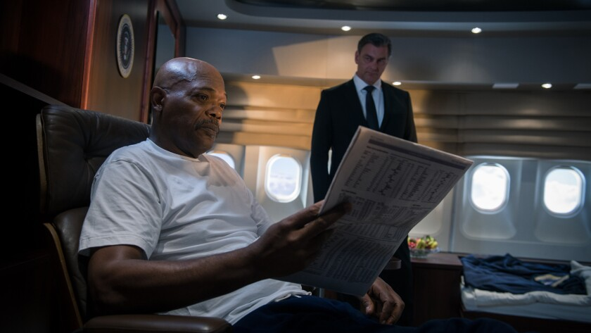 """From left, Samuel L. Jackson as Mr. President and Ray Stevenson as Morris in the action movie """"Big Game."""""""