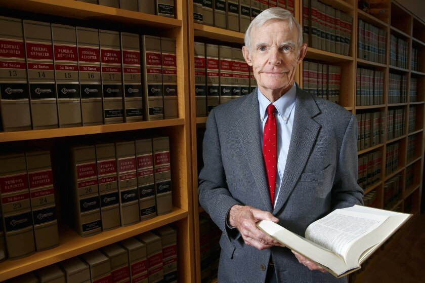 Judge William Canby is photographed in his office, Wednesday, Nov. 4, 2015 in Phoenix. The 84 federal appellate court made the difficult decision a few years ago to mostly stop hearing cases after a 30-year career. He was sharp and healthy, but didn't want to risk mental decline that would lead him