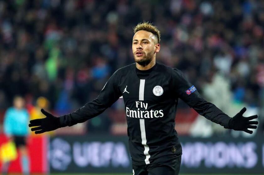 Paris Saint-Germain superstar Neymar Jr. celebrates after scoring a goal during a Champions League Group C match against Red Star Belgrade in Belgrade, Serbia, on Dec. 11, 2018. EPA-EFE/Srdjan Suki
