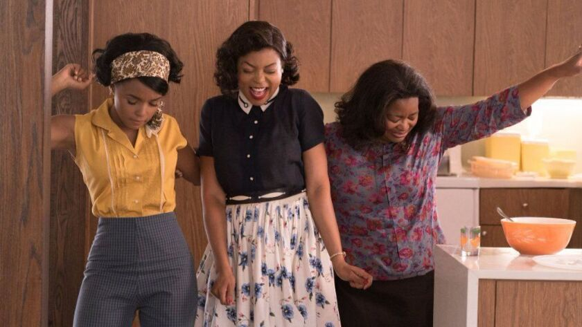 "Mary Jackson (Janelle Monáe, left), Katherine Johnson (Taraji P. Henson) and Dorothy Vaughan (Octavia Spencer) celebrate their stunning achievements in one of the greatest operations in history in the film ""Hidden Figures."""
