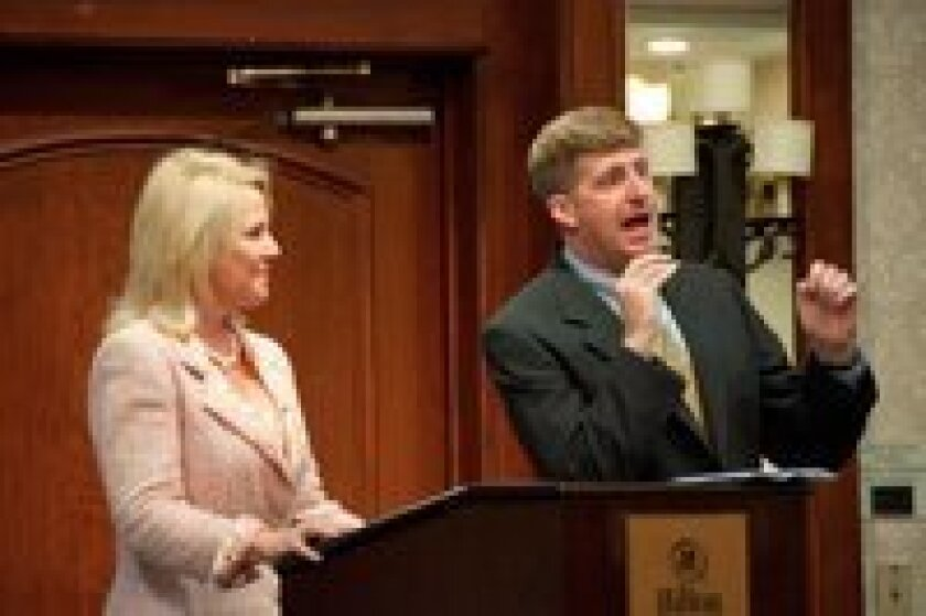RSF's Muffy Walker, founder and president of the International Bipolar Foundation, with former Congressman Patrick Kennedy. Photo/Claire Harlin