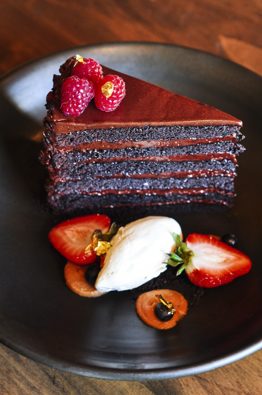 Rancho Valencia's Chocolate Layer Cake comes with gold flakes.