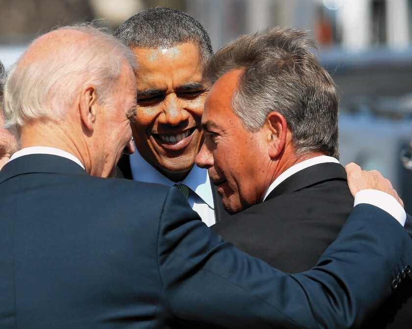 Gay rights advocates want President Obama to sign an executive order banning federal contractors from discrimination against gays. A broader anti-discrimination bill passed the Senate last year, but Speaker John A. Boehner, right, says he will not bring it to a House vote.