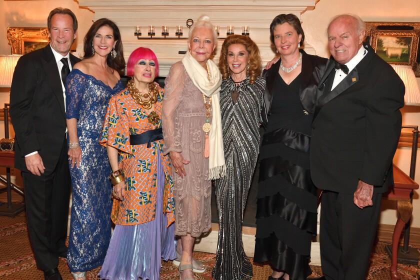 Stuart and Karen Tanz, Zandra Rhodes, Jeanne Jones (honorary co-chair), Reena Horowitz (honorary co-chair), Dr. Kristiina Vuori (SBP president), T. Denny Sanford (honorary trustee)