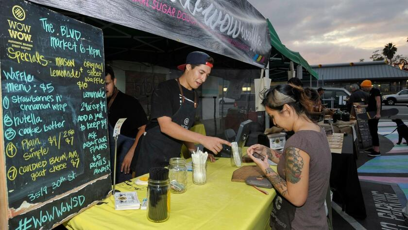 A monthly market is held at The Boulevard Center in North Park. (Rick Nocon)