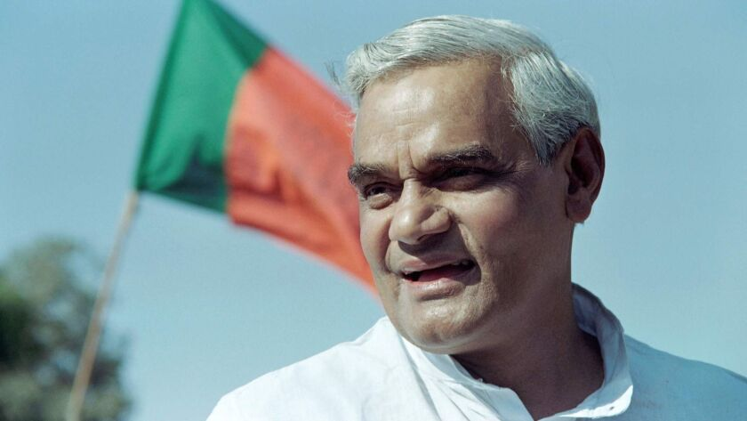 Atal Bihari Vajpayee, then prime minister of India, campaigns in New Delhi in 1989. He died Aug. 16, 2018. He was 93.