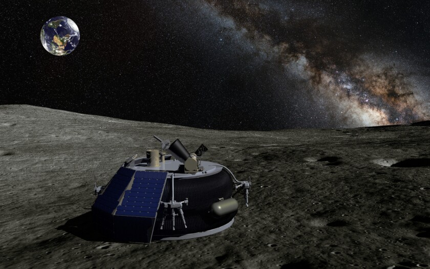 A rendering of the MX-1 lander on the moon.
