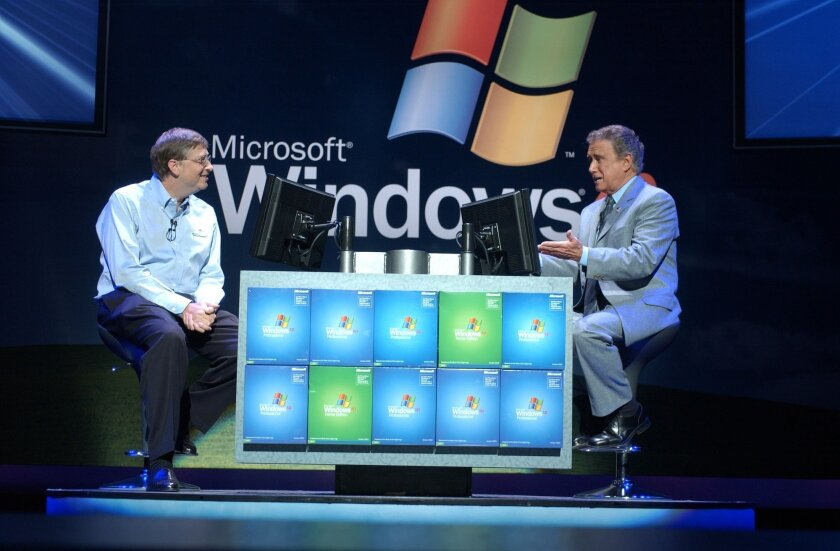 Microsoft Co-Founder Bill Gates appeared with TV host  Regis Philbin in New York when Windows XP was launched in the fall of 2001. Microsoft is ending support for the operating system after April 8.
