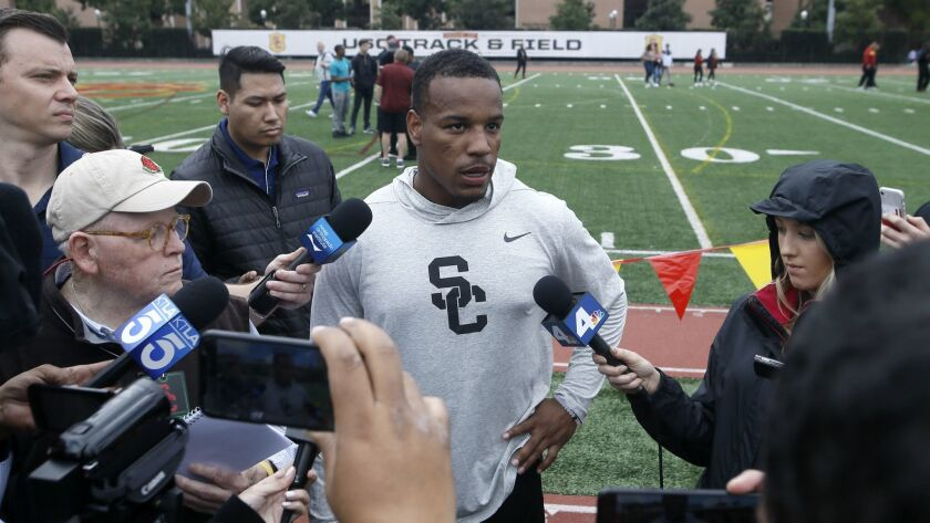 Southern California cornerback Iman Marshall talks to the media during USC Pro Day, Wednesday, March