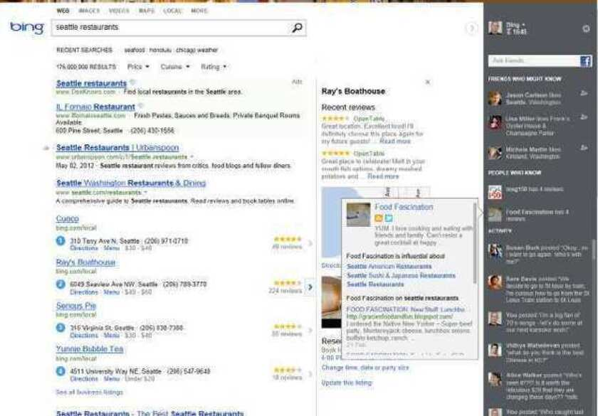 """A screen shot provided by Microsoft shows changes to Bing's website, unveiled last month, that reshapes how Bing displays its search results. It represents Microsoft's most dramatic shift in Internet search since the software maker introduced Bing as a """"decision engine"""" nearly three years ago."""