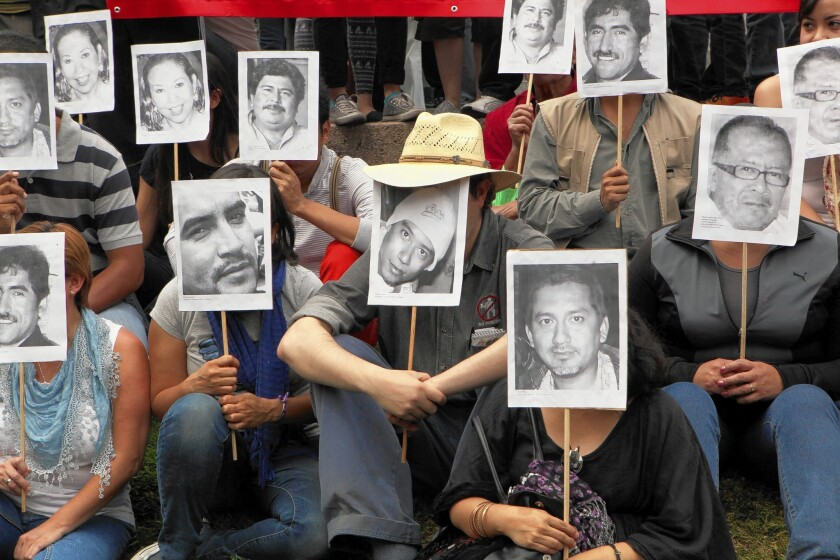 Journalists protest in Mexico City in February to call attention to the killings of their colleagues.