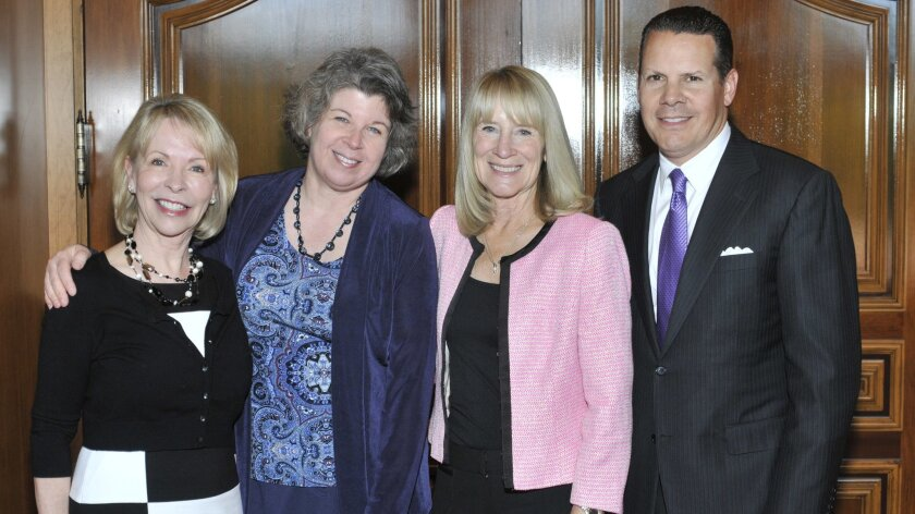 Northern Trust wealth strategist and chapter leader Gayle Allen, author Meg Wolitzer, Literary Society President Candace Humber, Northern Trust San Diego Region President John Ippolito