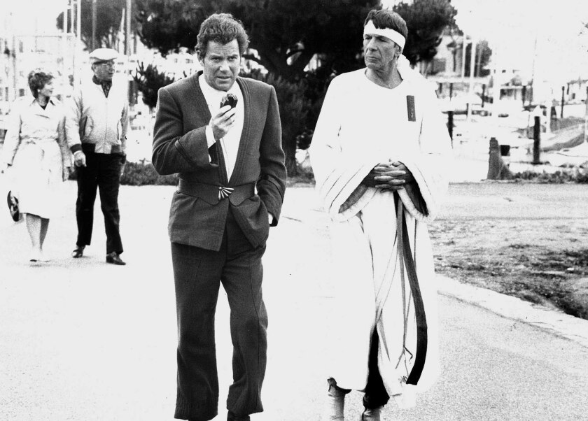 """William Shatner, left, and Leonard Nimoy, right, in """"Star Trek IV: The Voyage Home."""""""