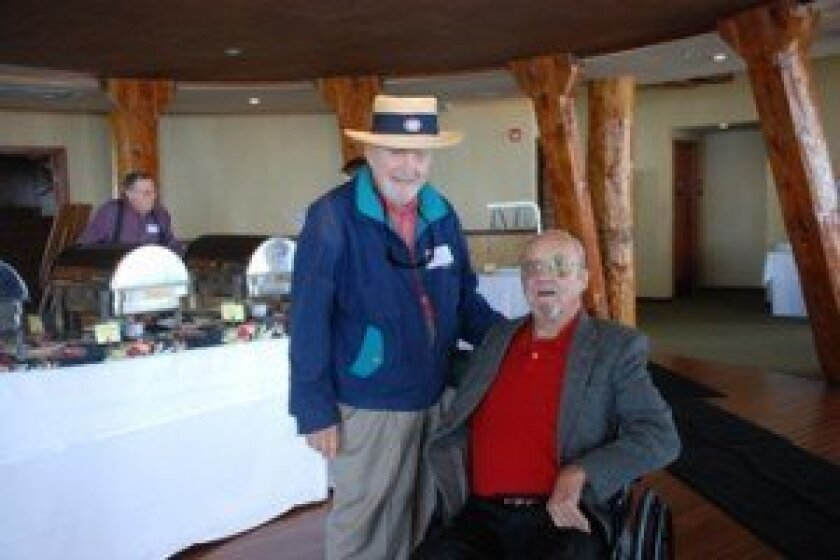 La Jolla High Class of 1939-44 reunion founders Cliff Robertson ('41) and Bruce Moore ('42) at the 2009 event. Light file photo