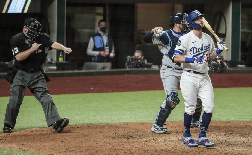 Dodgers center fielder Cody Bellinger (35) strikes out in the eighth inning in game two of the World Series.