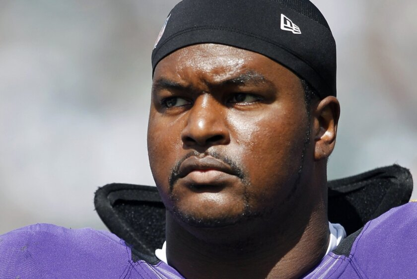 Left tackle Bryant McKinnie started four games for the Ravens last postseason.