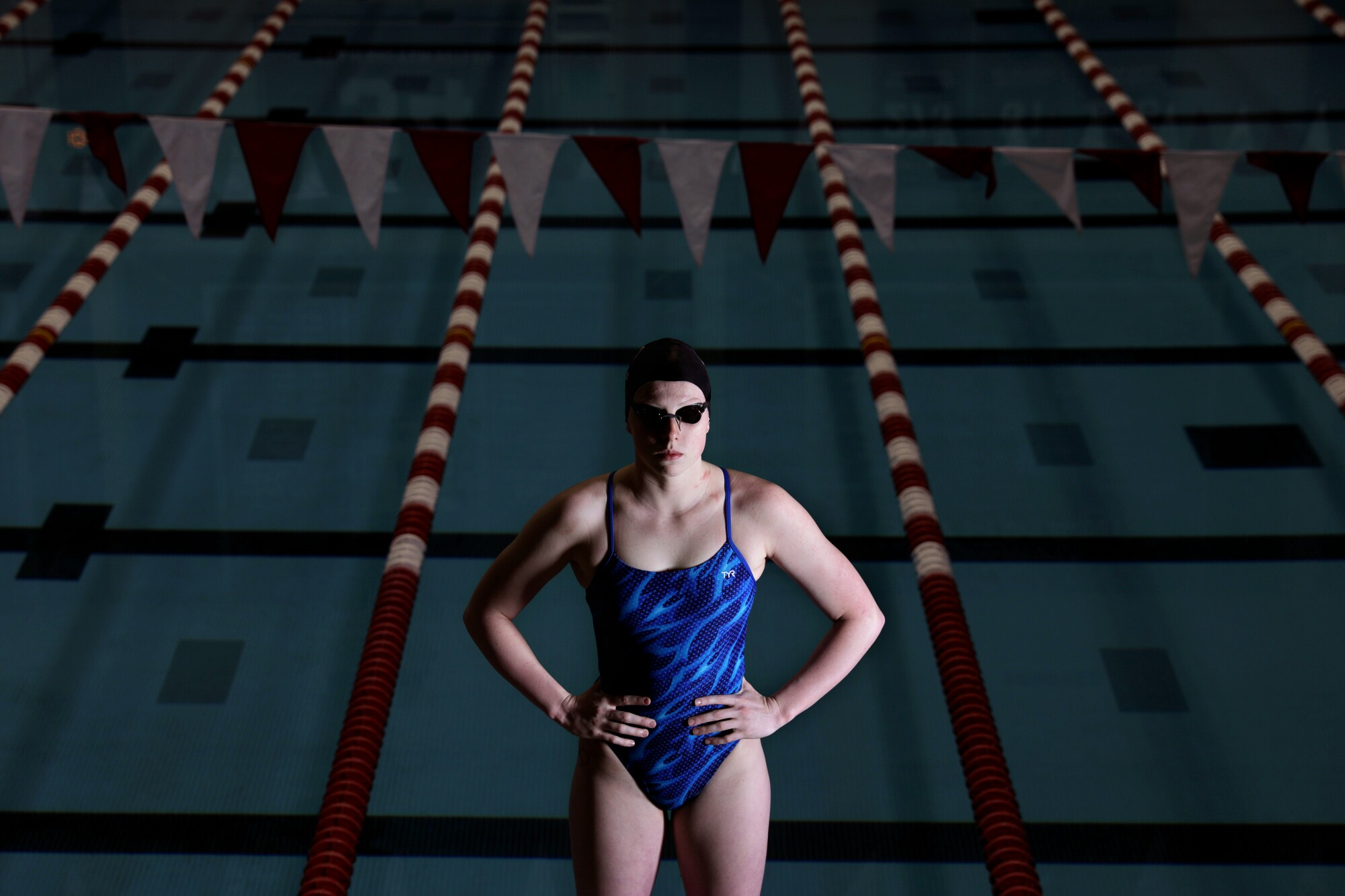 Lilly King, photographed at Counsilman Billingsley Aquatic Center at Indiana University, is proud to be considered outspoken.
