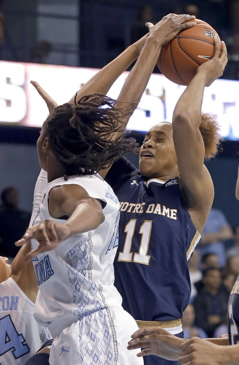 Notre Dame's Brianna Turner (11) is blocked by North Carolina's N'Dea Bryant during the first half of an NCAA college basketball game in Chapel Hill, N.C., Thursday, Jan. 15, 2015. (AP Photo/Gerry Broome)