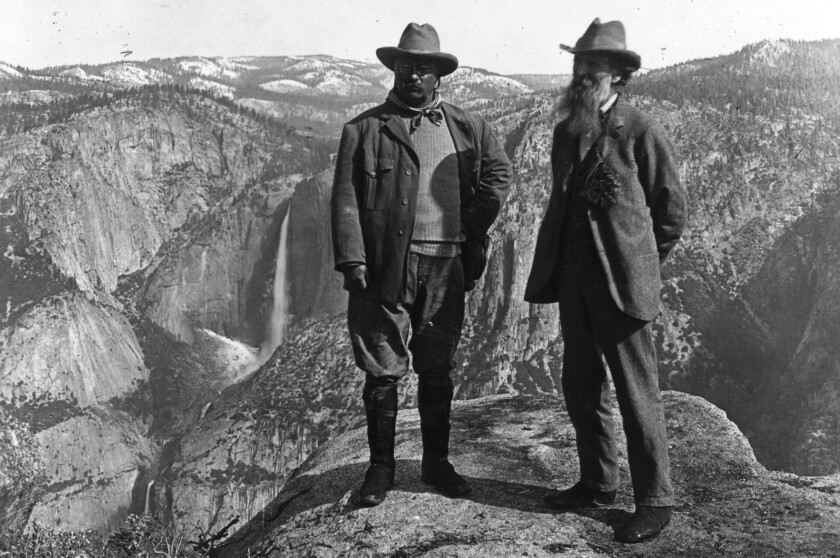 Theodore Roosevelt with conservationist John Muir at Glacier Point in Yosemite.