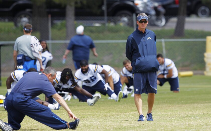 San Diego Chargers coach Mike McCoy looks on during a practice.