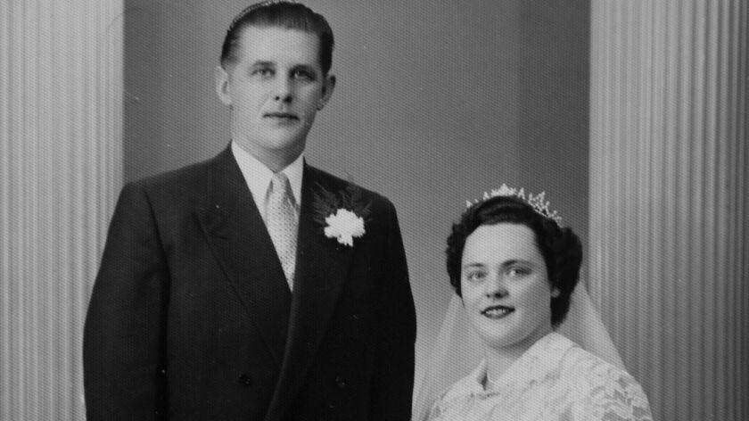 Wedding portrait of Willi and Margarete Kleemeier taken on September 2, 1955, in Herford, Germany.