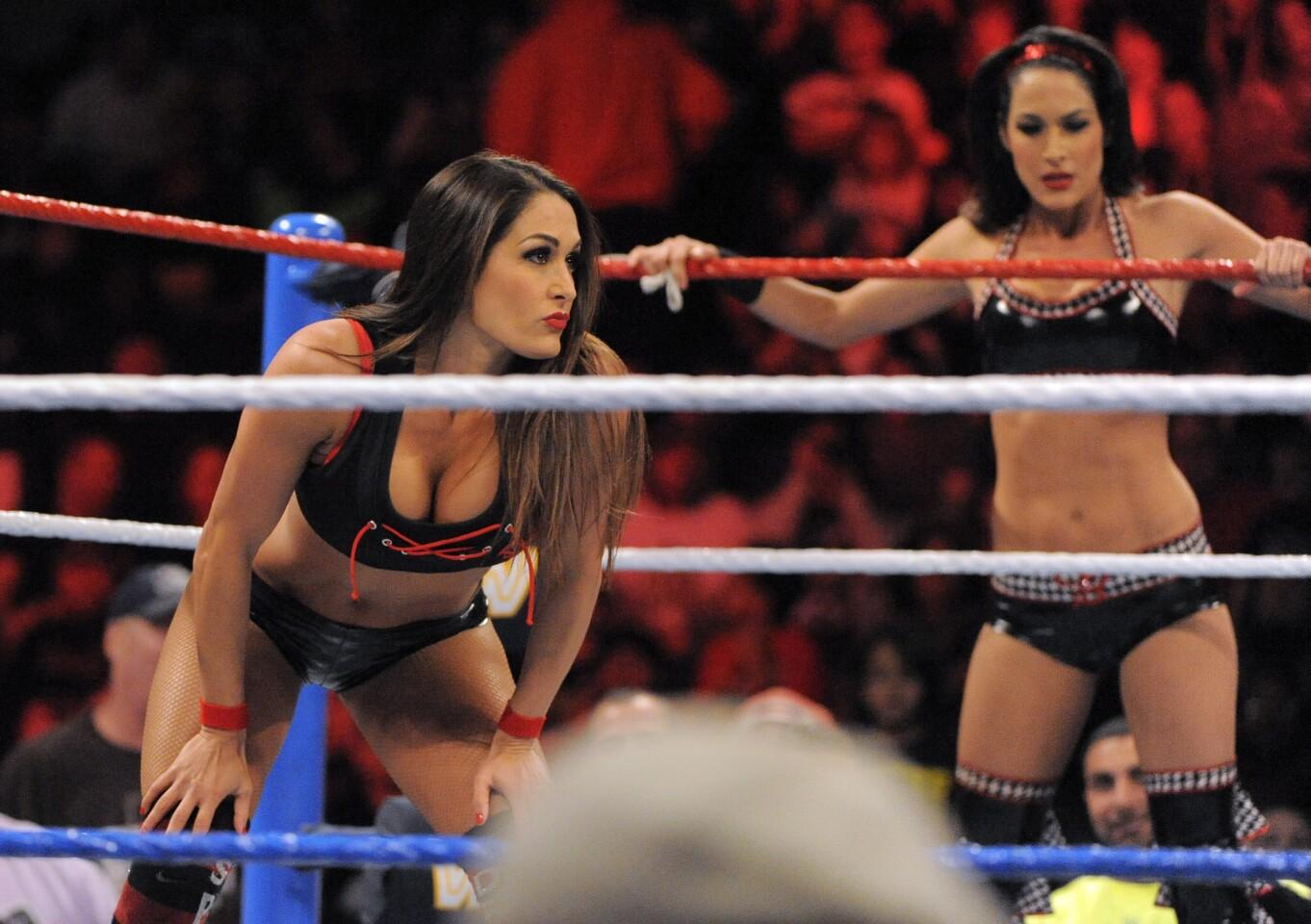 Brie Bella and Nikki Bella compete in a Divas tag-team match at Baltimore Arena.